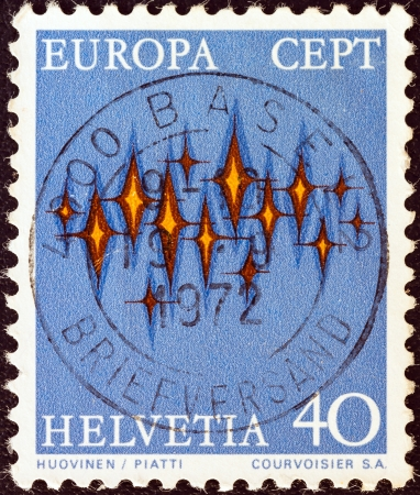 stempeln: SWITZERLAND - CIRCA 1972: A stamp printed in Switzerland from the Europa issue shows a communications composition, circa 1972.