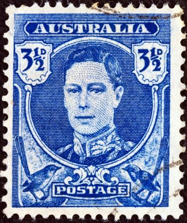 AUSTRALIA - CIRCA 1942: A stamp printed in Australia shows King George VI, circa 1942.  Stock Photo - 17298601