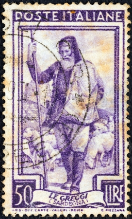 ITALY - CIRCA 1950: A stamp printed in Italy from the Provincial Occupations issue shows a Shepherd (Sardinia), circa 1950.