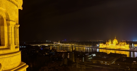 Panoramic night view of Budapest from Fisherman s Bastion  photo