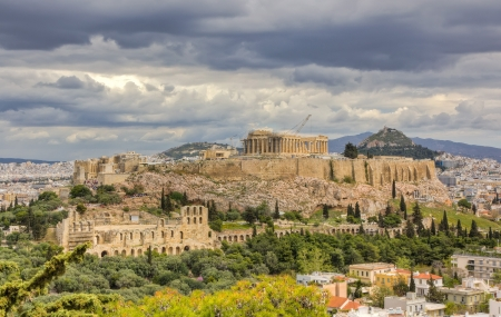 ancient greece: Acropolis under a dramatic sky, Athens, Greece  Stock Photo
