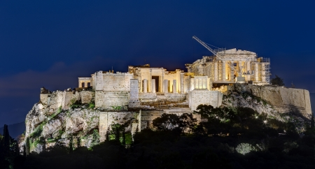 Night view of Acropolis, Athens, Greece photo
