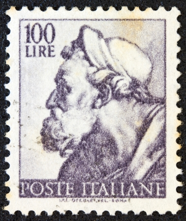 ITALY - CIRCA 1961: A stamp printed in Italy from the Michelangelo issue shows the head of prophet Ezekiel from Sistine Chapel, circa 1961.