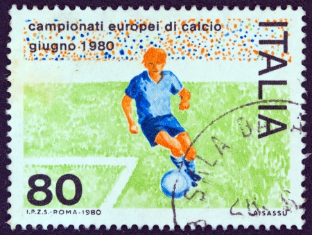ITALY - CIRCA 1980: A stamp printed in Italy, issued for Euro 1980 which hosted in Italy shows a football player, circa 1980.