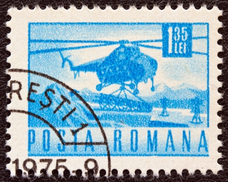 ROMANIA - CIRCA 1967: A stamp printed in Romania shows a Mil Mi-4 helicopter, circa 1967.