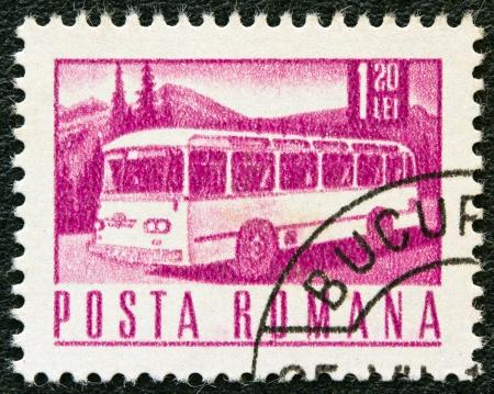motorcoach: ROMANIA - CIRCA 1967: A stamp printed in Romania shows a Motor coach, circa 1967.