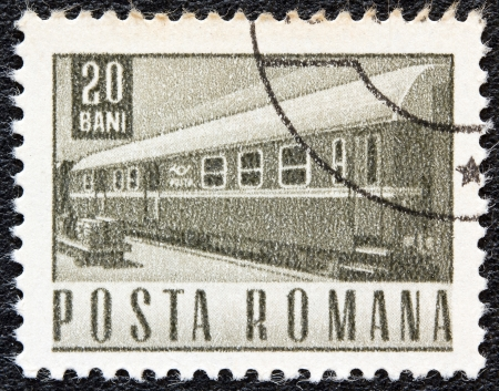 ROMANIA - CIRCA 1967: A stamp printed in Romania shows a Railway traveling post office coach, circa 1967.