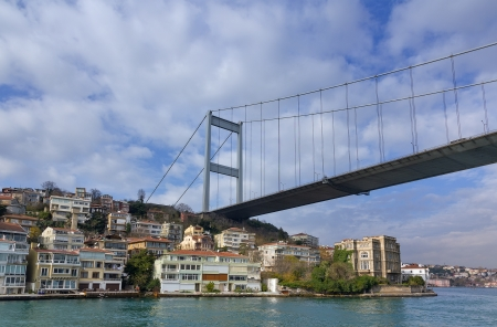 Fatih Sultan Mehmet Bridge over Hisarustu neighborhood, Istanbul, Turkey Stock Photo - 17470194