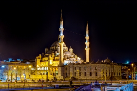 Yeni Cami by night, Istanbul, Turkey photo