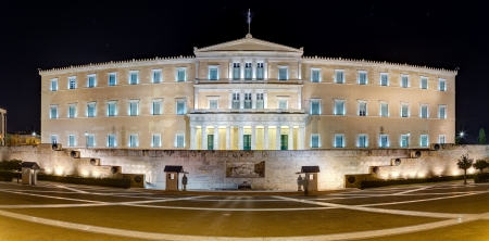 Panoramic view of the Greek Parliament building at night, Athens Stock Photo - 17534976