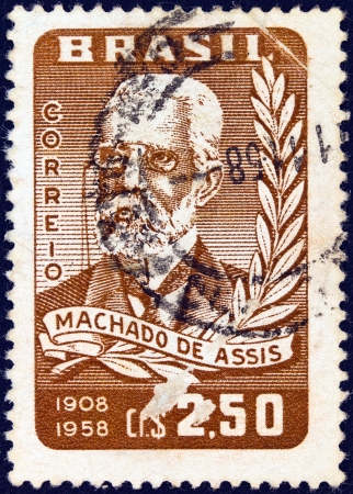 BRAZIL - CIRCA 1958: A stamp printed in Brazil issued for his 50th death anniversary shows writer Machado de Assis, circa 1958.