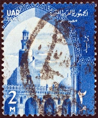 EGIPTO - CIRCA 1958: Un sello impreso en Egipto muestra Ahmad Ibn Tulun Mezquita, El Cairo, alrededor del a�o 1958. Foto de archivo - 17765213