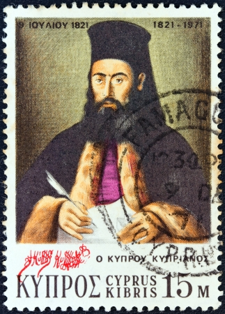 kypros: CYPRUS - CIRCA 1971: A stamp printed in Cyprus from the 150th anniversary of Greek war of independence issue shows Archbishop Kyprianos of Cyprus, circa 1971.