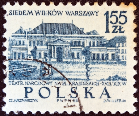 polska: POLAND - CIRCA 1965: A stamp printed in Poland issued for the 700th anniversary of Warsaw shows the National Theatre, circa 1965.  Editorial