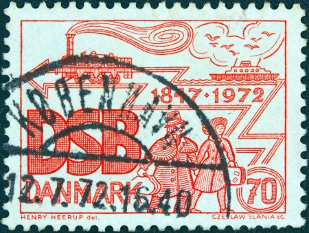 odin: DENMARK - CIRCA 1972: A stamp printed in Denmark issued for the 125th anniversary of Danish State railways shows Locomotive Odin, Ship and Passengers, circa 1972.
