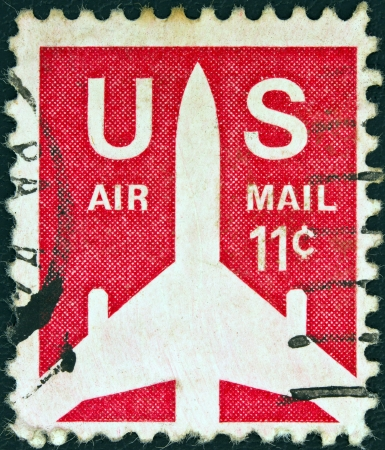 USA - CIRCA 1971: A stamp printed in USA shows a Jet Silhouette, circa 1971.  Stock Photo - 17765238
