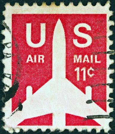 USA - CIRCA 1971: A stamp printed in USA shows a Jet Silhouette, circa 1971.  Stock Photo - 17765238
