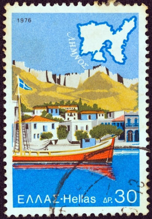 GREECE - CIRCA 1976: A stamp printed in Greece from the Tourist Publicity issue shows Lemnos island, circa 1976.