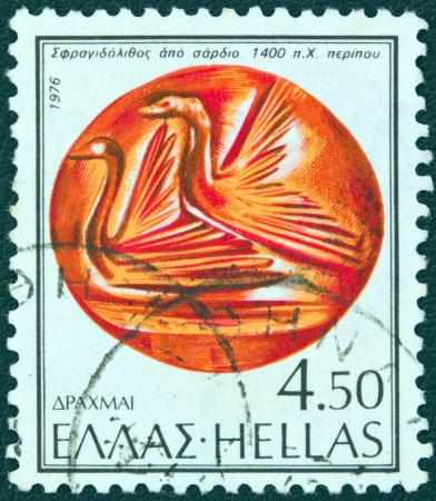 sard: GREECE - CIRCA 1976: A stamp printed in Greece from the Ancient Sealing-stones issue shows a sealing stone from 14th century B.C. displaying water birds, circa 1976.