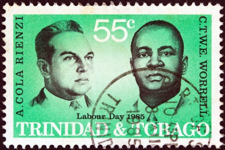 TRINIDAD AND TOBAGO - CIRCA 1985: A stamp printed in Trinidad and Tobago from the 'Labour day' issue shows labour leaders Adrian Cola Rienzi and C.T.W.E. Worrell, circa 1985.