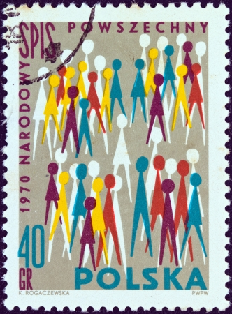 stempeln: POLAND - CIRCA 1970: A stamp printed in Poland shows National census population pictograph, circa 1970.  Editorial