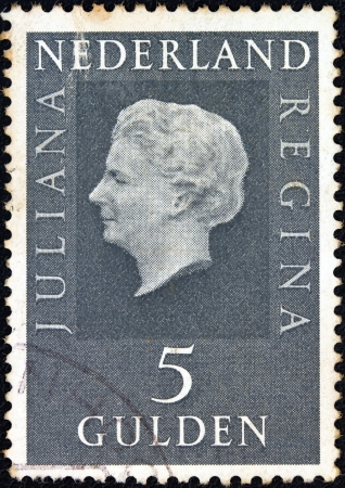 NETHERLANDS - CIRCA 1969: A stamp printed in the Netherlands shows Queen Juliana, circa 1969.