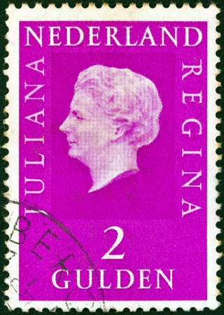 orange nassau: NETHERLANDS - CIRCA 1969: A stamp printed in the Netherlands shows Queen Juliana, circa 1969.