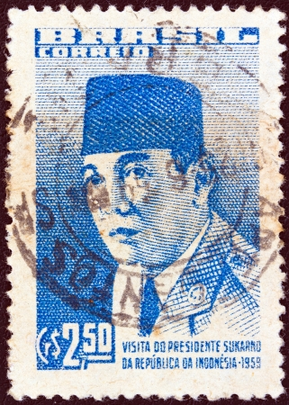 sukarno: BRAZIL - CIRCA 1959: A stamp printed in Brazil issued for the visit of Indonesian President Sukarno, circa 1959.
