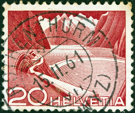 confederation: SWITZERLAND - CIRCA 1949: A stamp printed in Switzerland shows Grimsel Reservoir, circa 1949.