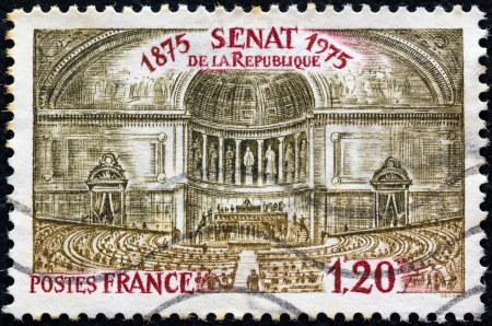 postes: FRANCE - CIRCA 1975: A stamp printed in France issued for the centenary of French Senate shows first assembly at Luxembourg Palace, circa 1975.  Editorial