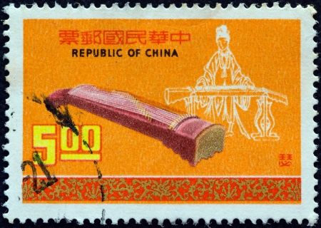 TAIWAN - CIRCA 1976: A stamp printed in Taiwan from the 'Chinese Musical Instruments (1st series)' issue shows Se (2900 B.C.), circa 1976.