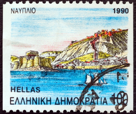 nauplio: GREECE - CIRCA 1990: A stamp printed in Greece from the Prefecture Capitals (2nd series) issue shows Citadel and islet, Nauplio, Argolis, circa 1990.  Editorial