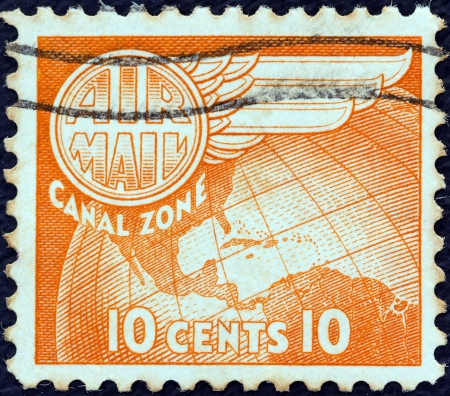 PANAMA CANAL ZONE- CIRCA 1951: A stamp printed in Panama Canal Zone shows a map of central America, circa 1951.