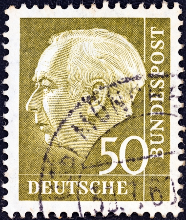 theodor: GERMANY - CIRCA 1954: A stamp printed in Germany shows the first President of the Federal Republic of Germany Theodor Heuss, circa 1954.