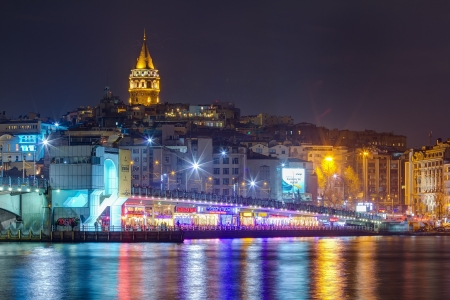 koprusu:  Night view of Galata bridge and tower, Istanbul, Turkey