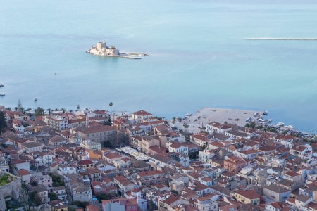 nauplio: Nafplio and Bourtzi view From Palamidi fortress, Greece Stock Photo