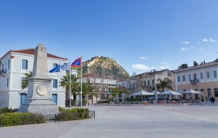 in background, Nafplio, Greece photo