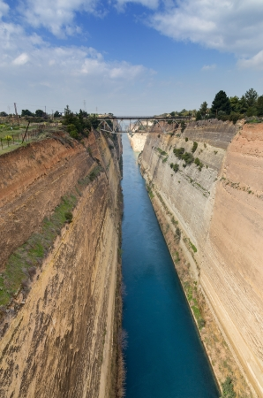 Corinth canal, Peloponnese, Greece photo