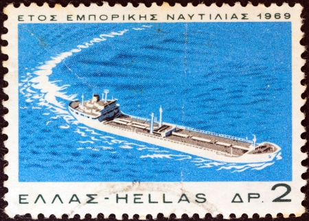 GREECE - CIRCA 1969: A stamp printed in Greece from the issued for the navy week and merchant marine year shows tanker 'Olympic Garland', circa 1969.