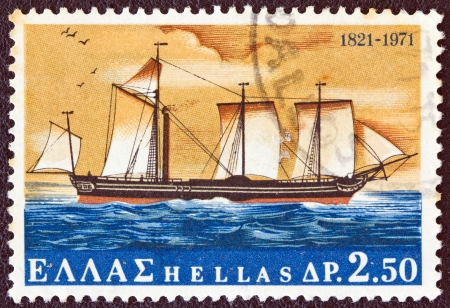 hastings: GREECE - CIRCA 1971: A stamp printed in Greece from the 150th Anniversary of War of Independence (2nd issue). The War at Sea shows Karteria warship from a painting by Hastings, circa 1971.