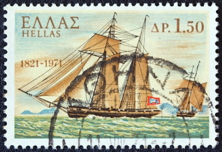 GREECE - CIRCA 1971: A stamp printed in Greece from the 150th Anniversary of War of Independence (2nd issue). The War at Sea shows Terpsichore warship from Hydra island, circa 1971.