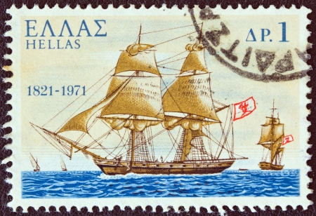 GREECE - CIRCA 1971: A stamp printed in Greece from the 150th Anniversary of War of Independence (2nd issue). The War at Sea shows Pericles warship from Spetsai island, circa 1971.