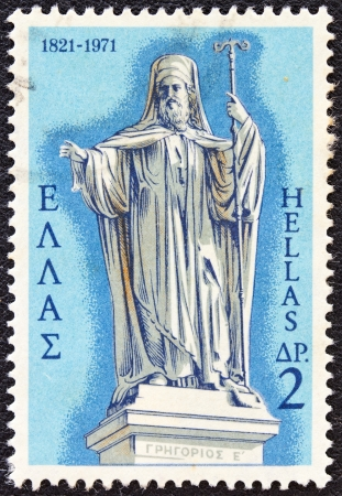 GREECE - CIRCA 1971: A stamp printed in Greece from the 150th Anniversary of War of Independence (1st issue). The Church showing Patriarch Gregory V (statue by Phitalis), circa 1971.
