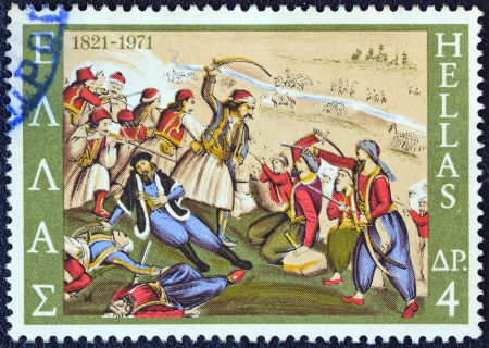 isaiah: GREECE - CIRCA 1971: A stamp printed in Greece from the 150th Anniversary of War of Independence (1st issue). The Church shows the death of Isaiah, bishop of Salona, in battle, circa 1971.