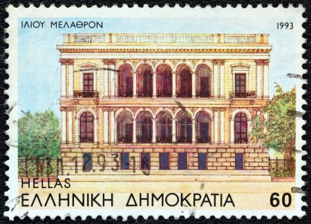 archaeologist: GREECE - CIRCA 1993: A stamp printed in Greece from the Modern Athens issue shows Iliou Melathron (former house of archaeologist Heinrich Schliemann, now Numismatic Museum), circa 1993.  Editorial