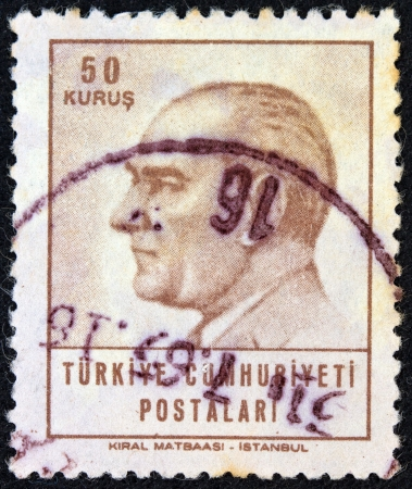 TURKEY - CIRCA 1964: A stamp printed in Turkey shows a portrait of Kemal Ataturk, circa 1964.