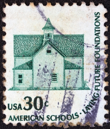 morris: USA - CIRCA 1975: A stamp printed in USA from the Americana issue shows the Morris Township School, Devils Lake, and the inscription American Schools-Laying Future Foundations, circa 1975.  Editorial