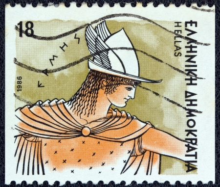 messengers of god: GREECE - CIRCA 1986: A stamp printed in Greece from the Gods of Olympus issue shows god Hermes, circa 1986.  Editorial