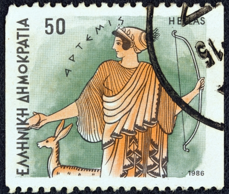 GREECE - CIRCA 1986: A stamp printed in Greece from the Gods of Olympus issue shows goddess Artemis, circa 1986.