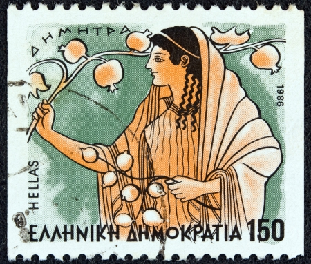 fertility goddess: GREECE - CIRCA 1986: A stamp printed in Greece from the Gods of Olympus issue shows goddess Demeter, circa 1986.